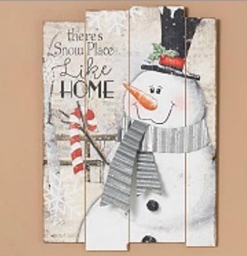"18.9""H Wood Holiday Snowman"