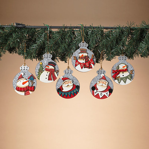 """4.3""""H Wood & Metal Holiday Ornament 6 Designs to choose from)"""