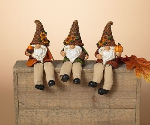 """7""""H Resin & Fabric Harvest Gnome Shelf Sitter (3 Designs to choose from)"""