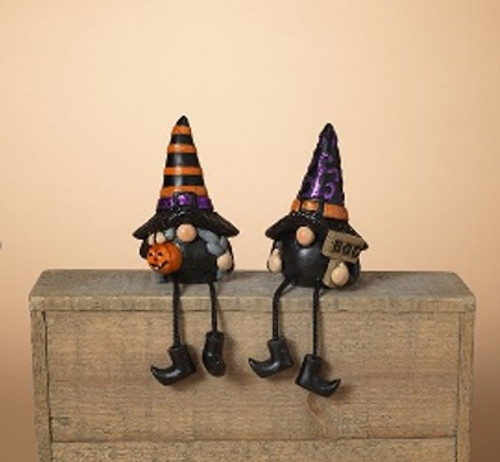 """4.3""""H Resin & Rope Halloween Gnome Shelf Sitters"""