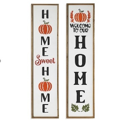 """48""""H Wood Harvest Engraved Porch Sign (2 Styles to choose from)"""