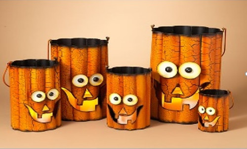 """Small Wavy Metal Halloween Candle Pot 7"""" x 5""""(Available in 5 Sizes)"""