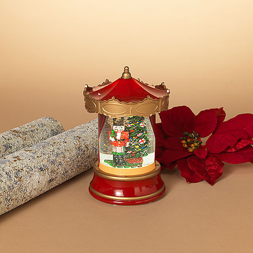 8InH Battery Operated Lighted Spinning Water Globe Lantern with Holiday Design - Nutcracker