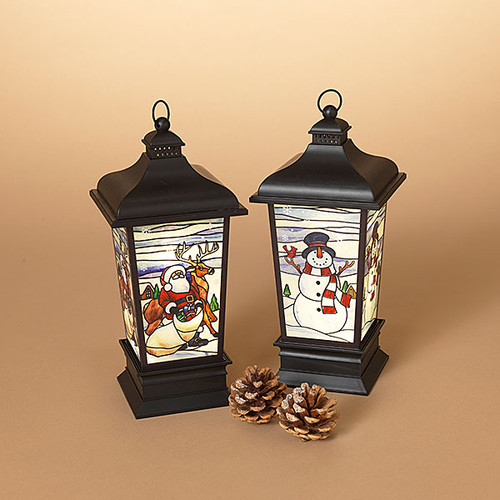 """11.75"""" Stained Glass look Luminary Lantern (2 Styles to choose from)"""