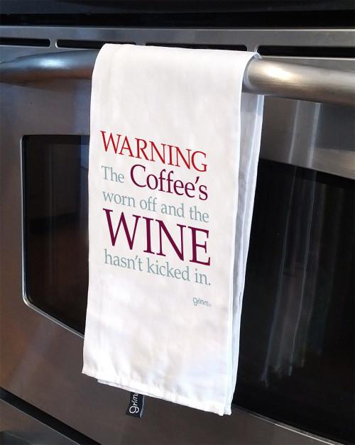 Tea Towel - Warning Wine hasn't kicked in