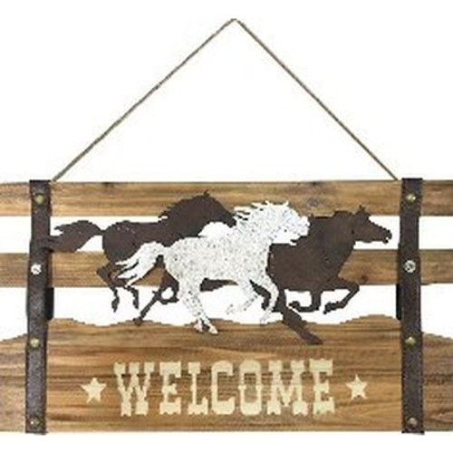Horses with 'Welcome/Bienvenue' Sign reversible
