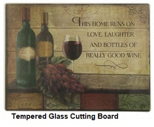 Wine, Love, Laughter Tempered Glass cutting Board