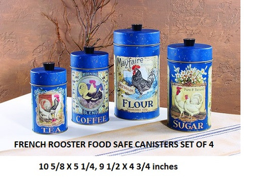French Rooster Canister set of 4