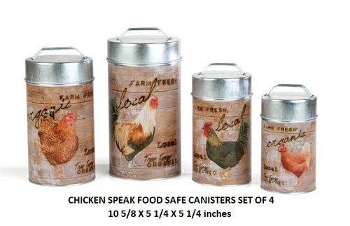 Chicken Speak Food Safe Canisters Set Of 4