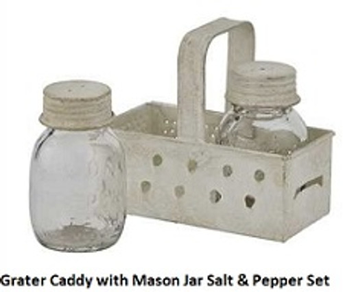 Grater Caddy with Mason Jar Salt and Pepper Shakers Set