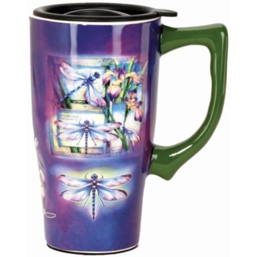 Dragonfly ceramic travel mug 18oz