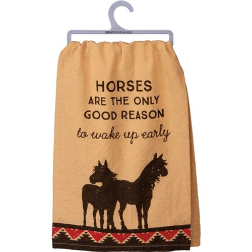 Dish Towel - Horses Only Reason To Wake Up Early