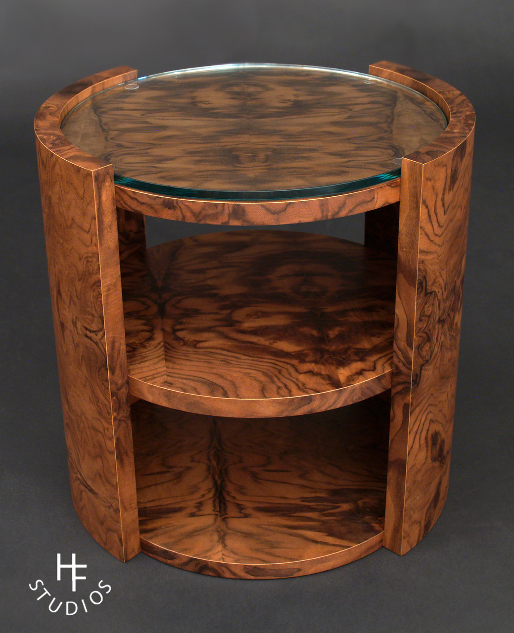 Walnut Burl And Glass Table Oakwood Veneer