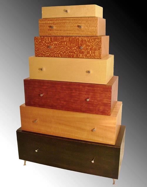 Mixed Wood Veneer Chest of Drawers