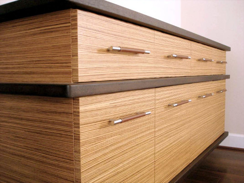 Zebrawood and Sapele Veneer Floating Cabinet
