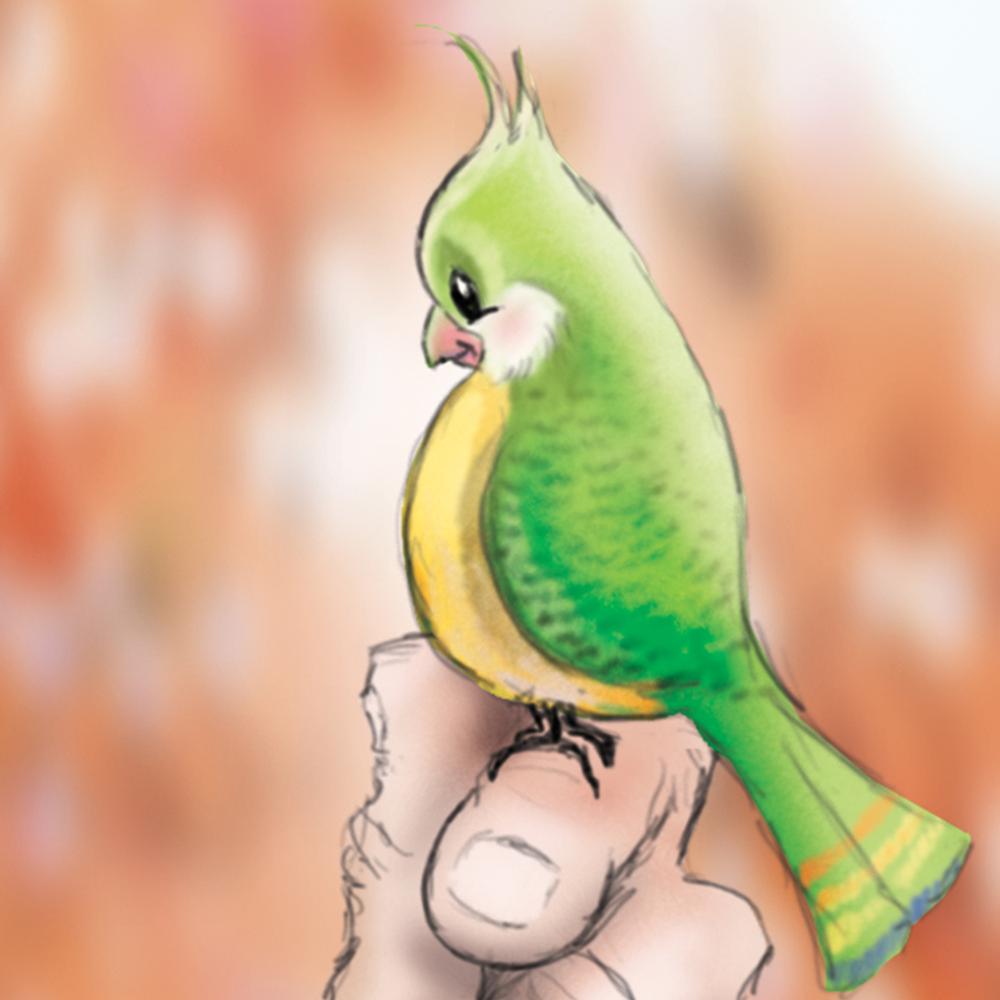 Flower Man with Bird