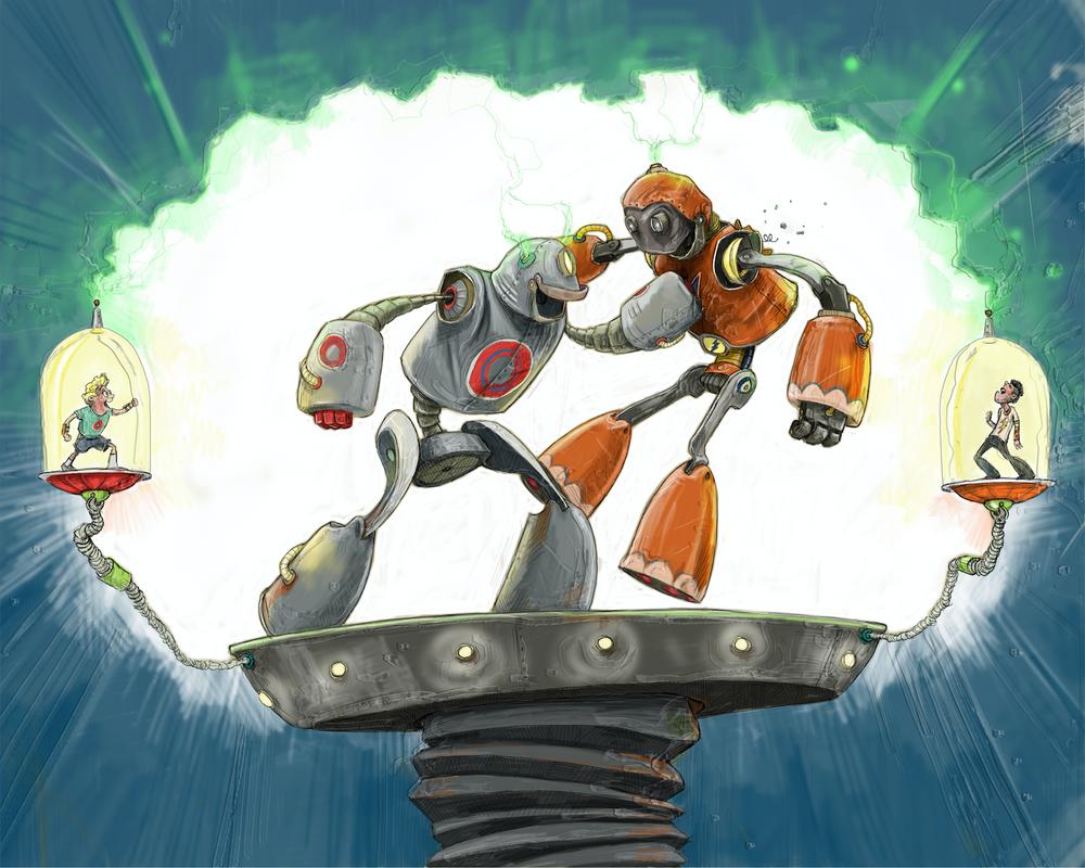 Robot Battle / Artwork by Mark Ludy