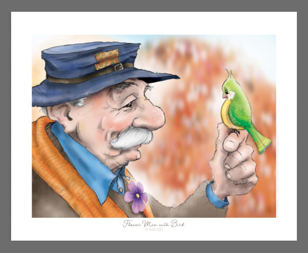 Flower Man with Bird / Sm Print