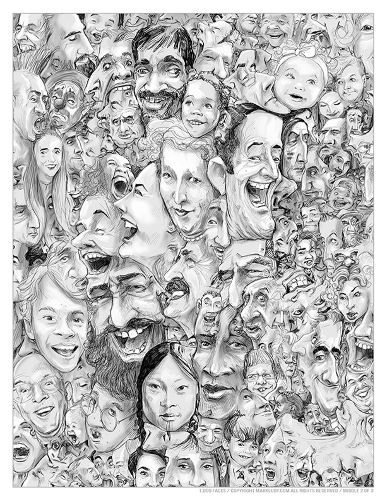 1,000 Faces Coloring Page / Middle 2 of 3 Spread