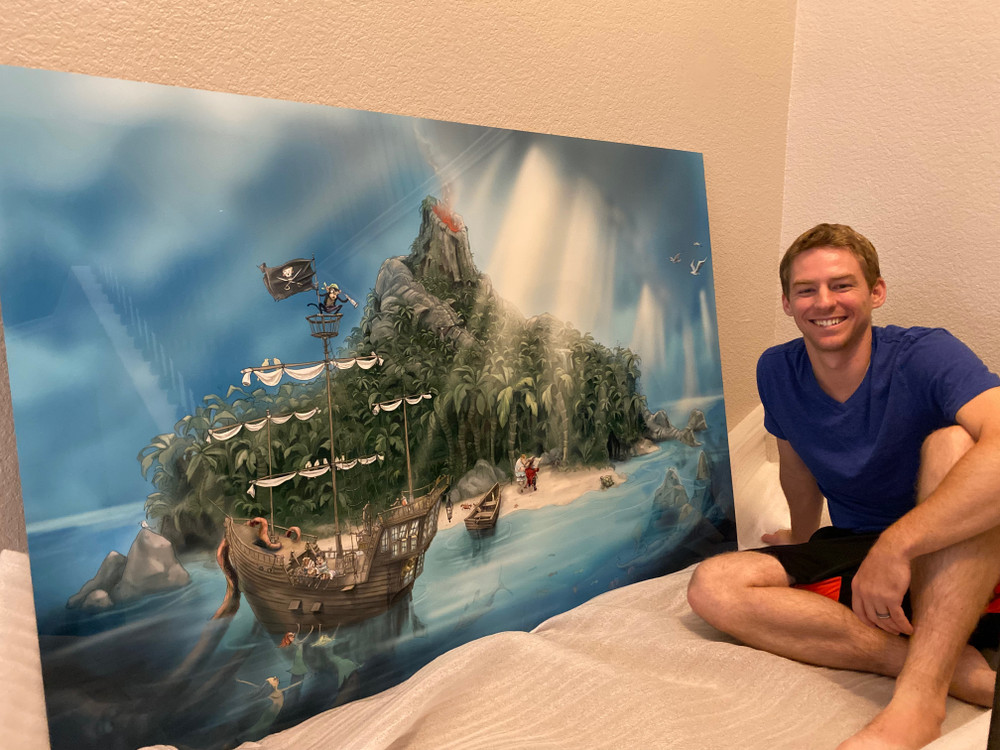Stephen Katrien with his piece of art he and I created together.