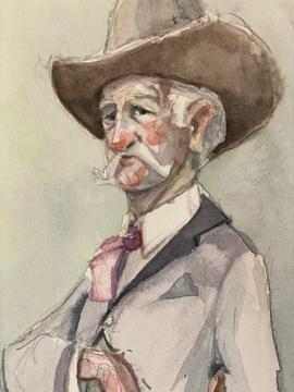 The Gunslinger Original Watercolor