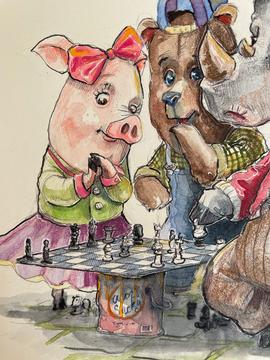 Street Chess Watercolor Original