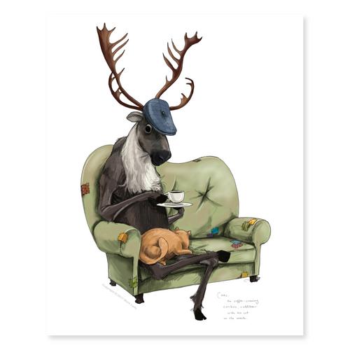 Carl The Coffee Craving Caribou / Sm Print