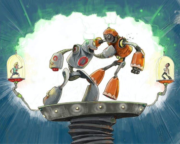 Robot Battle / Artwork by Mark Ludy