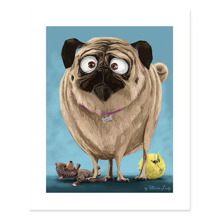 Portrait of a Pug / Sm Print