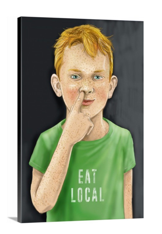 "Eat Local / 24x36"" on Canvas + Free Shipping"