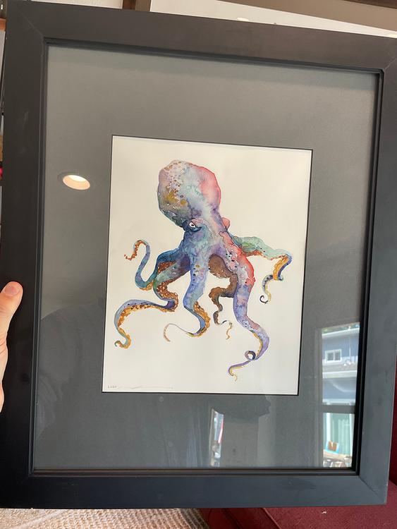 Octopus Original Watercolor Framed