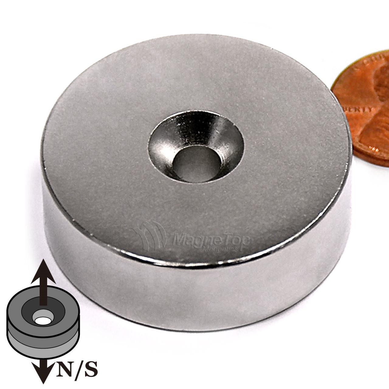 38.1mm x 12.7mm-N42-M6 Countersink on Both Side   Neodymium Round Countersunk