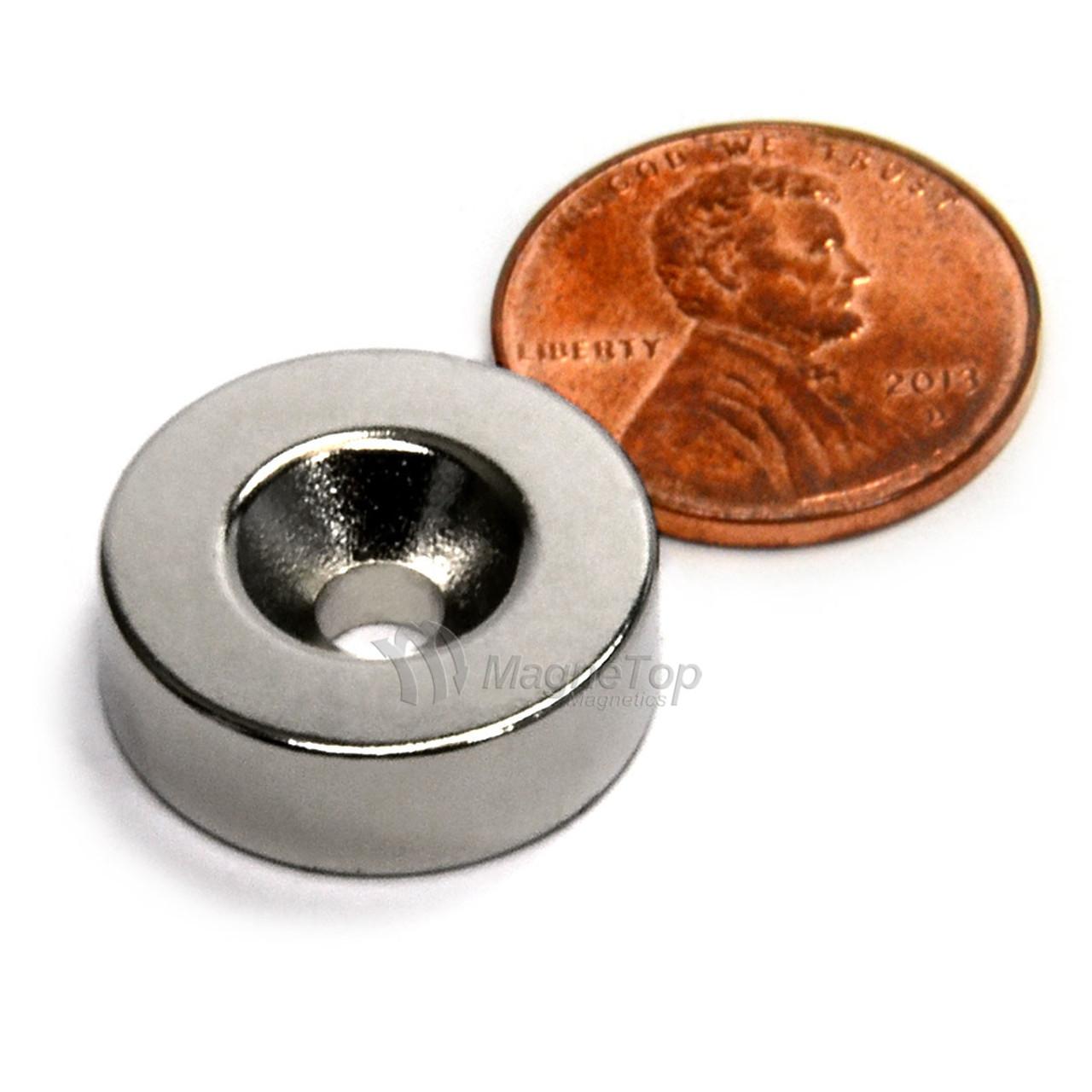 19.1mm x 6.4mm-N52-M5 Countersink on One Side | Neodymium Round Countersunk