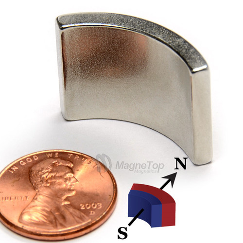 38.1mm (OD) x 31.75mm(ID) x 19mm 90 Degree -N42HT-S Pole Neodymium Arc