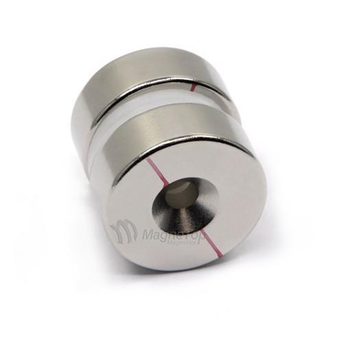 25.4mm x 9.5mm-N45-M5 Countersink on Both Side | Neodymium Round Countersunk