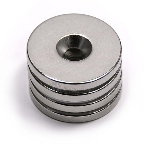 25.4mm x 3.2mm-N42-M5 Countersink on One Side | Neodymium Round Countersunk