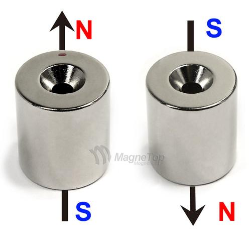 22.2mm x 25.4mm-N42-M5 Countersink on One Side | Neodymium Round Countersunk