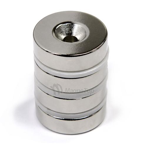 22.2mm x 6.4mm-N42-M5 Countersink on One Side | Neodymium Round Countersunk