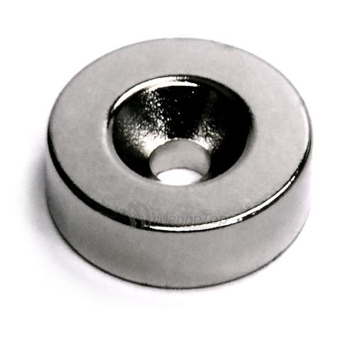 19.1mm x 6.4mm-N42-M5 Countersink on One Side | Neodymium Round Countersunk
