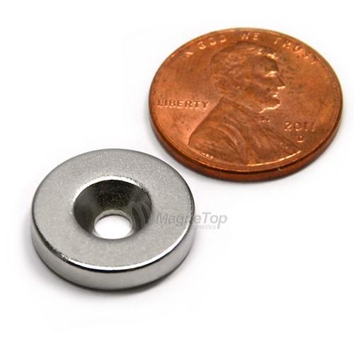 15.9mm x 3.2mm-N42-M4 Countersink on One Side | Neodymium Round Countersunk