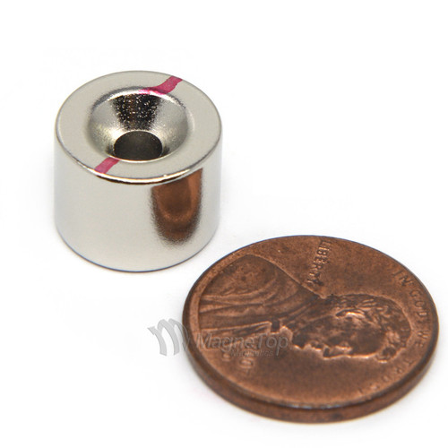 12.7mm x 9.5mm-N45-M4 Countersink on Both Side | Neodymium Round Countersunk