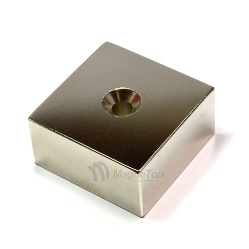 50mm x 50mm x 25mm-N52- 1xM6 Countersink on One Side | Neodymium Block