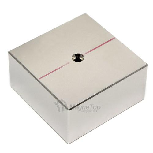 50mm x 50mm x 25mm-N52- 1xM3 Countersink on One Side | Neodymium Block