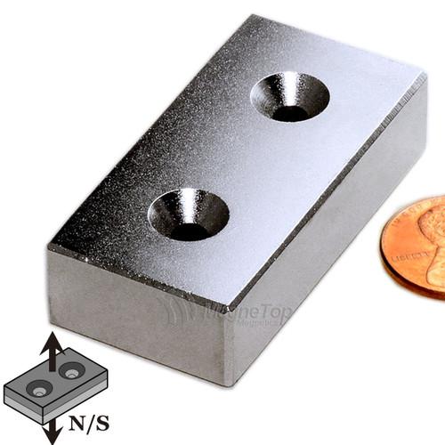 50mm x 25mm x 12.5mm-N52- 2xM5 Countersink on Both Side | Neodymium Block