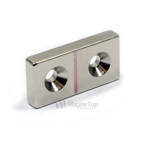 40mm x 20mm x 6mm-N45- 2xM5 Countersink on One Side | Neodymium Block