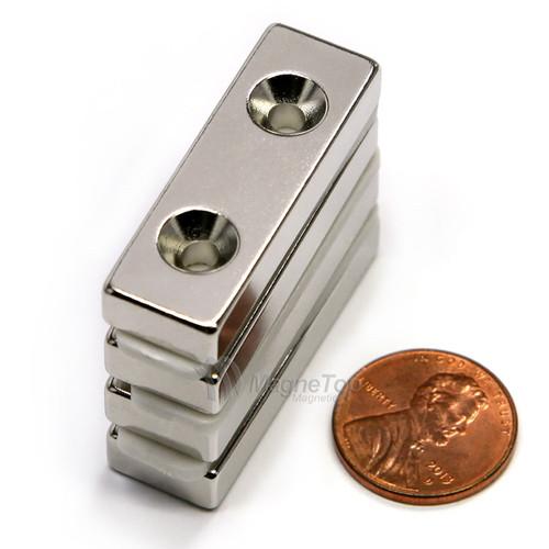 40mm x 12.5mm x 6mm-N42- 2xM4 Countersink on One Side | Neodymium Block