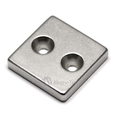 25mm x 25mm x 5mm-N42- 2xM4 Countersink on One Side | Neodymium Block