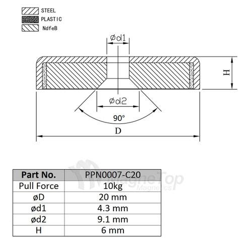 Neodymium Pot 20mm dia. Countersunk 10kg Holding Force
