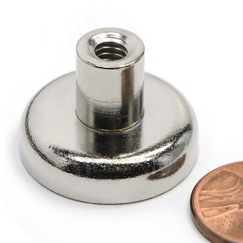 Neodymium Pot 25mm dia. Female Thread 17.5kg Holding Force