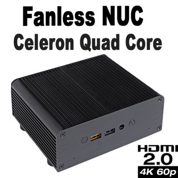 Fanless Quad Core Celeron J3455 NUC PC, 4GB DDR3, 256GB SSD [Newton-AC]